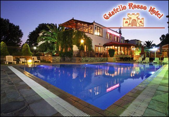 2 νύχτες στο 3* Castello Rosso Hotel για 2 ενήλικες και 2 παιδιά έως 4 ετών σε δίκλινο δωμάτιο με μπαλκόνι με θέα θάλασσα, Ημιδιατροφή. εικόνα