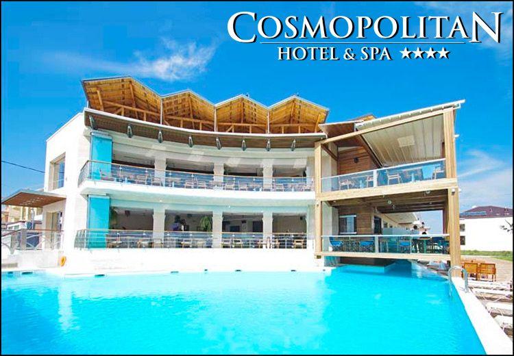 Διαμονη στην Παραλια Κατερινης στο 4* Cosmopolitan Hotel & Spa με 85€ ανα διανυκτερευση με Ημιδιατροφη (πρωινο και δειπνο σε μπουφε) σε δικλινο δωματιο για 2 ενηλικες και 1 παιδι εως 12 ετων! Ελευθερη προσβαση στο χωρο του SPA που περιλαμβανει εσωτερικη θερμαινομενη Πισινα, Σαουνα, Χαμαμ και Γυμναστηριο καθως και 25% εκπτωση σε θεραπειες μασαζ! Η προσφορα ισχυει για διαμονη τον Σεπτεμβριο