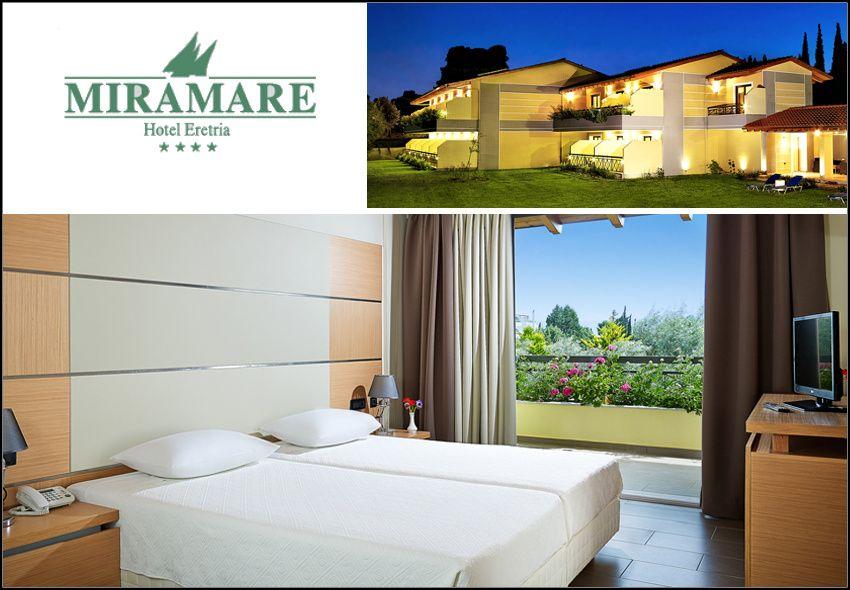 Χριστούγεννα - Πρωτοχρονιά στην Ερέτρια Εύβοιας στο 4* Miramare Hotel Eretria με 230€ για 3 ημέρες - 2 διανυκτερεύσεις με Ημιδιατροφή (πλούσιο πρωινό και δείπνο με κρασί) σε δίκλινο δωμάτιο στην Annex πτέρυγα για 2 ενήλικες και 1 παιδί έως 10 ετών! Προσφέρεται Εορταστικό Ρεβεγιόν τις Παραμονές Χριστουγέννων και Πρωτοχρονιάς με πλούσιο δείπνο συνοδεία κρασιού και Ζωντανής Μουσικής από Ορχήστρα
