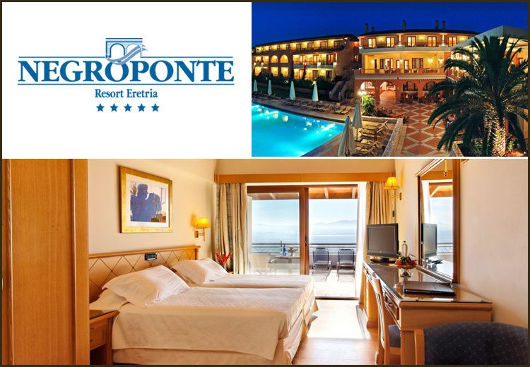 Διαμονή στην Ερέτρια στο 5* Negroponte Resort Eretria με 179€ για 2 διανυκτερεύσεις με Ημιδιατροφή (πρωινό σε μπουφέ και δείπνο στο εστιατόριο Λεβάντε με θέα τον Ευβοικό κόλπο) σε Deluxe δίκλινο δωμάτιο για 2 ενήλικες και 1 παιδί έως 6 ετών με Early check in - Late check out! Προσφέρονται Welcome drink καθώς και Καλάθι φρούτα και ένα Μπουκάλι κρασί ΧΑΡΙΣΜΑ AVANTIS στο δωμάτιο! Ελεύθερη χρήση των εγκαταστάσεων άθλησης και ψυχαγωγίας (πλήρως εξοπλισμένο Γυμναστήριο και γήπεδα Τένις, Μπάσκετ και Ποδοσφαίρου κατά τη διάρκεια της ημέρας)! Δωρεάν Επίσκεψη, Ξενάγηση και Γευστική δοκιμή 4 κρασιών στο βραβευμένο Οινοποιείο ΑΒΑΝΤΙΣ! Δυνατότητα και για επιπλέον διανυκτερεύσεις!Η προσφορά ισχύει για διαμονή έως 31 Μαρτίου
