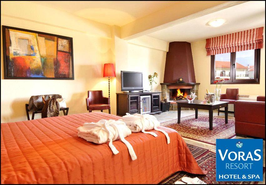 Διαμονη στo Καϊμακτσαλαν στο 4* Voras Resort Hotel & Spa με 99€ για 3 ημερες – 2 διανυκτερευσεις με πρωινο σε δικλινο δωματιο για 2 ενηλικες και 1 παιδι εως 6 ετων! Παρεχεται early check in – late check out, ελευθερη χρηση της Εσωτερικης Θερμαινομενης Πισιναςστους 30°Cμε συστημα υδρομασαζ, καταρρακτη νερου και αντιθετη κολυμβηση και της Σαουνα καθως και 30% εκπτωση στις θεραπειες Spa (αισθητικη, μασαζ)! Δυνατοτητα αναβαθμισης και διαμ…